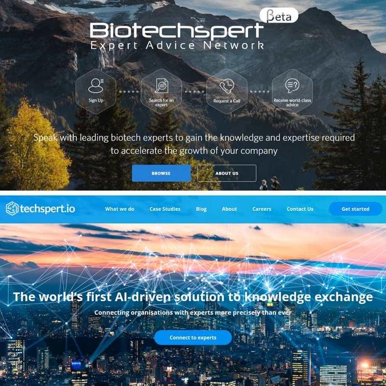 A comparison of the Biotechspert and techspert.io websites