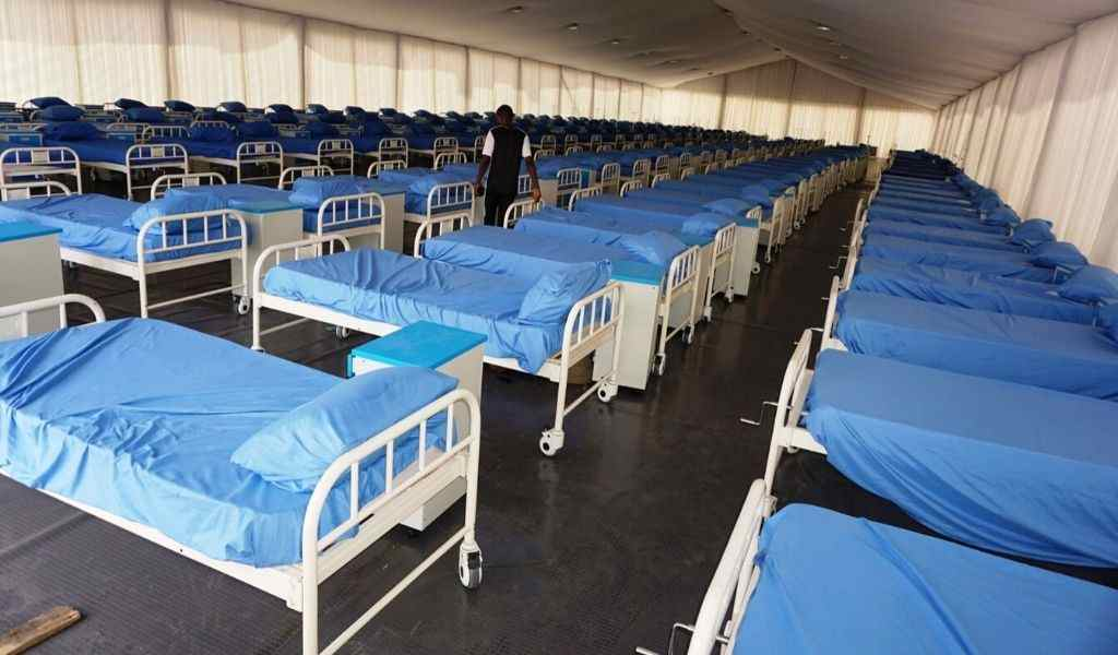 A photograph of beds in a coronavirus isolation centre