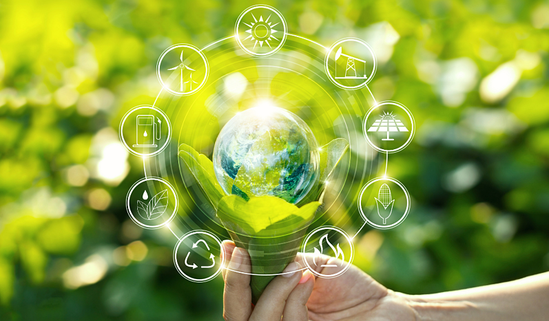 Hand holding a light bulb against nature on a green leaf with icons of renewable energy