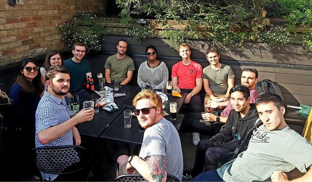 Enjoying post-work bevvies with some of the team at a local pub.