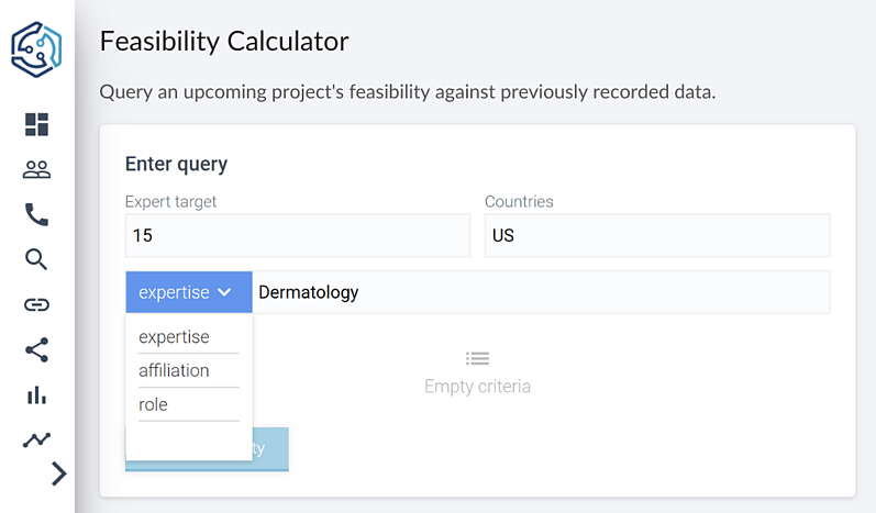 A screenshot of the criteria you can filter a query by on techspert.io's feasibility calculator.