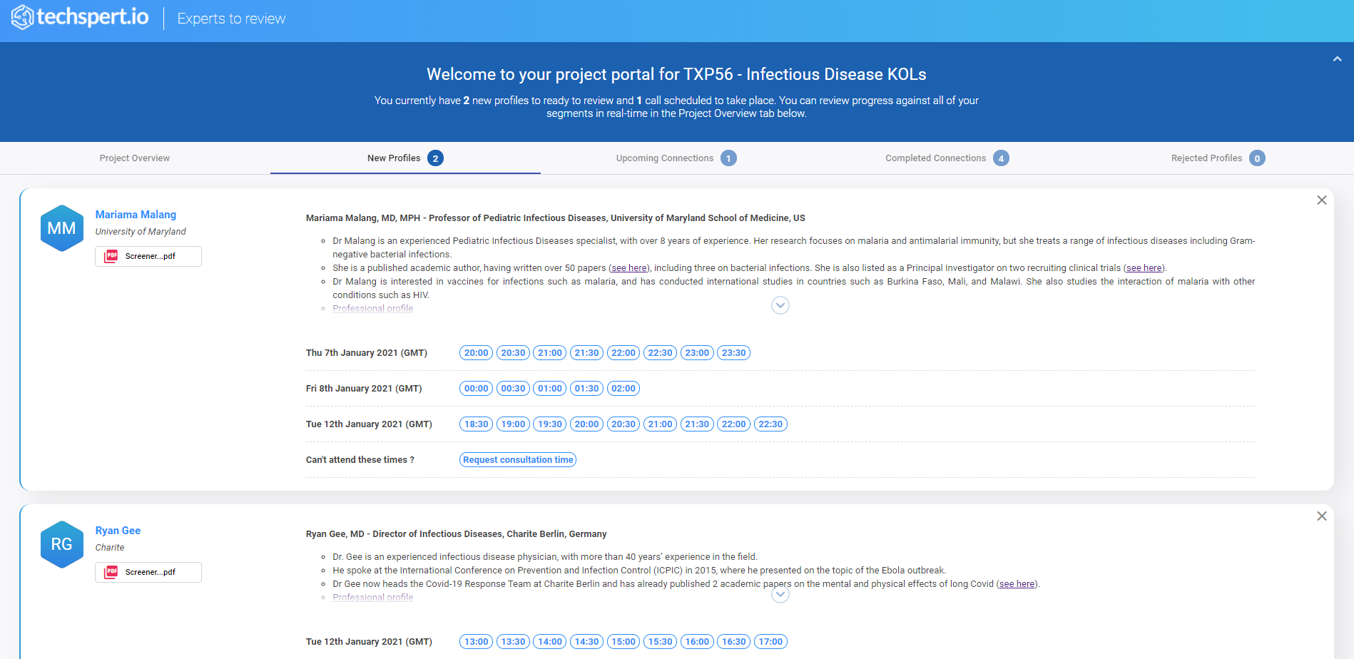A screenshot of new profiles to review on the portal