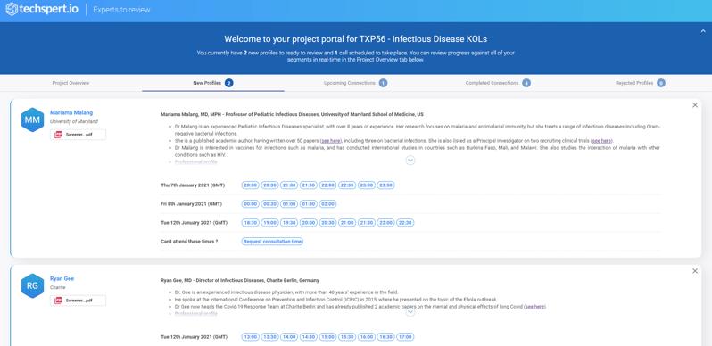A screenshot of the project portal
