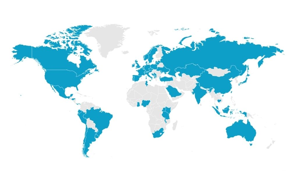 An map of the globe with countries highlighted in blue