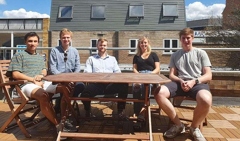 Basking in the sun with my fellow interns. From left to right: Marcos, Preben, Callum, me and Rory.