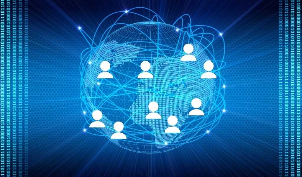 A graphic of a globe showing a network of people