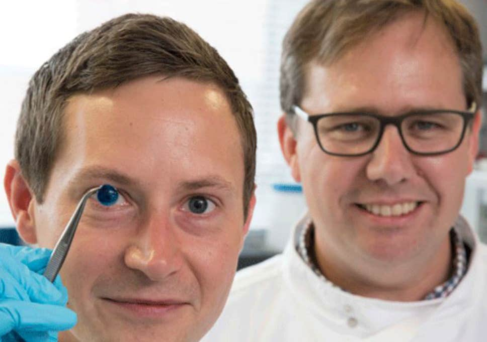 The researchers who developed the 3D-printed cornea, Dr Steve Swioklo (left) with Prof Che Connon (Newcastle University)