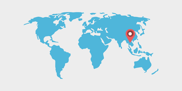 World map with pin showing Southeast Asia