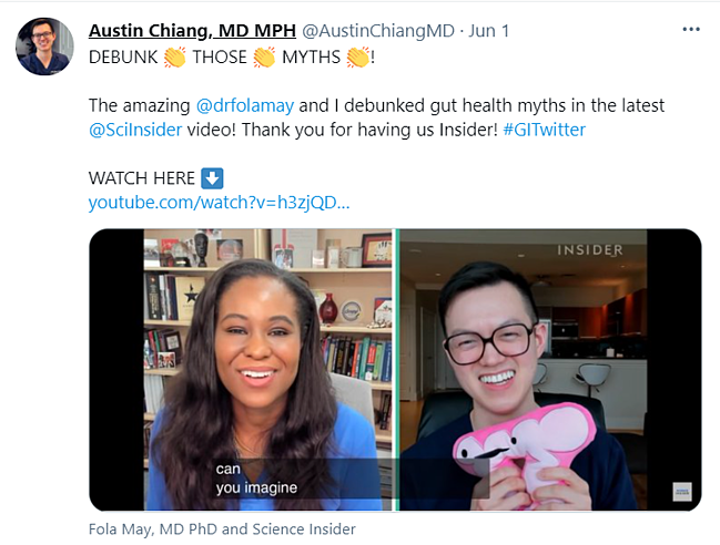 A screenshot of a Tweet featuring the DOLs Dr Chiang and Dr May