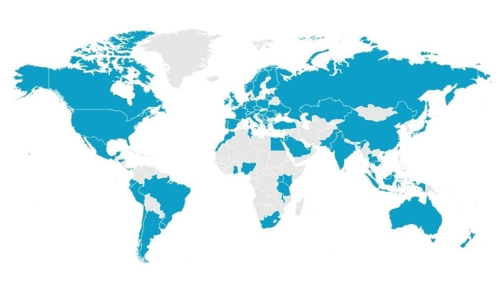 World map showing techspert.io global coverage.