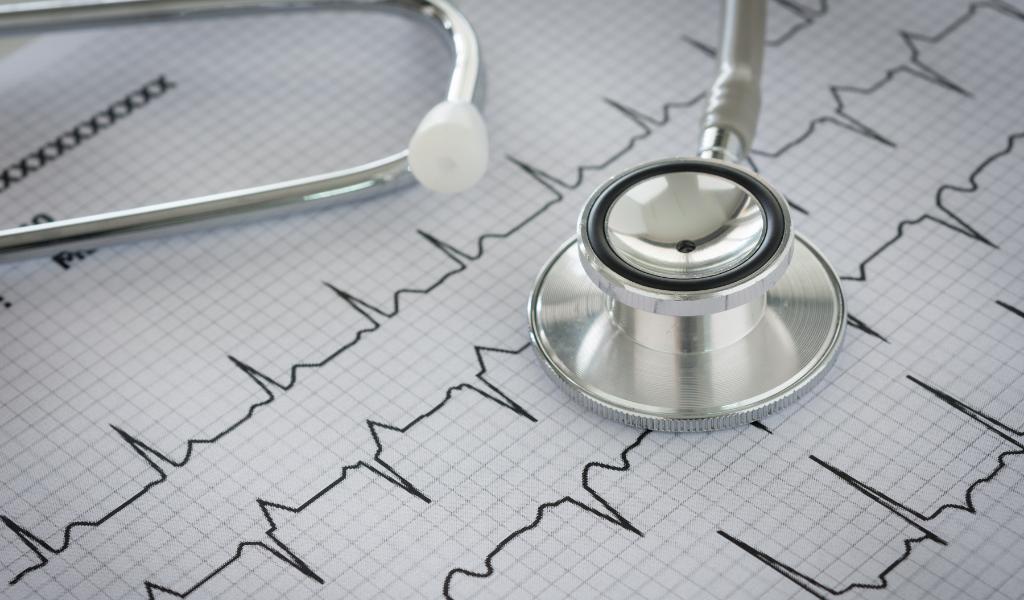 Stethoscope and cardiogram.